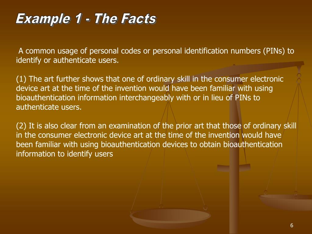 Example 1 - The Facts