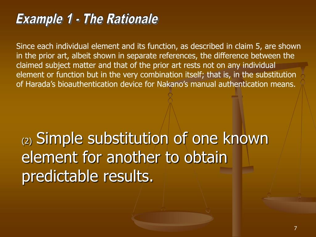 Example 1 - The Rationale