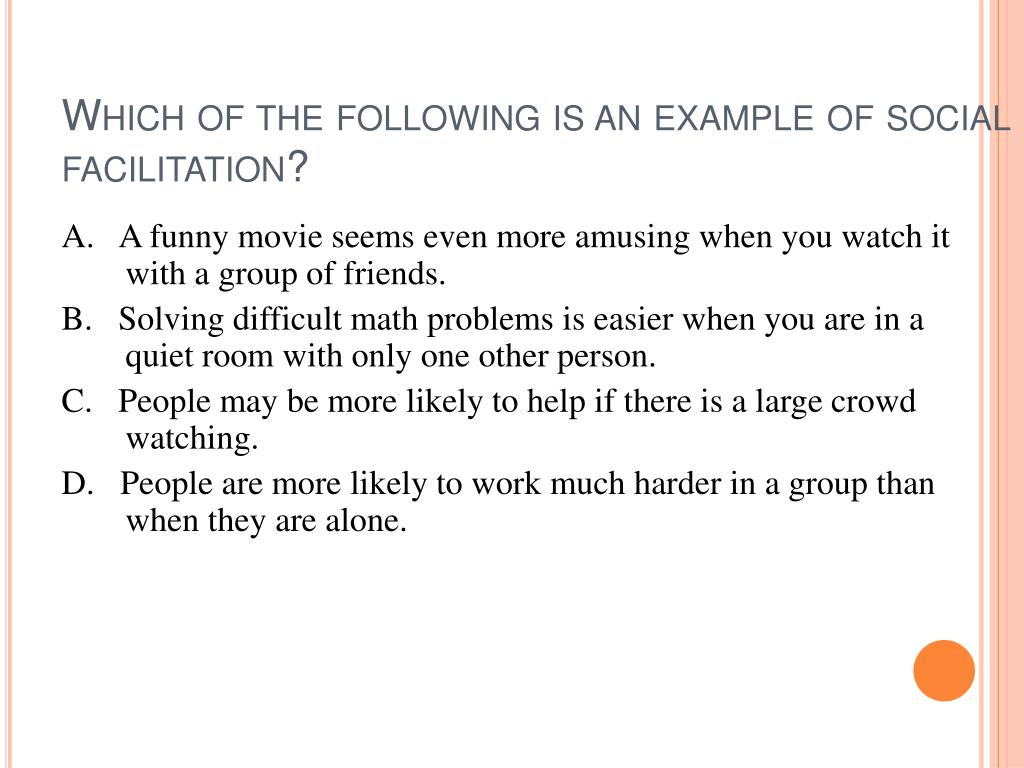 Which of the following is an example of social facilitation?