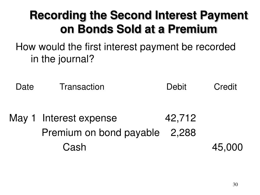 Recording the Second Interest Payment on Bonds Sold at a Premium