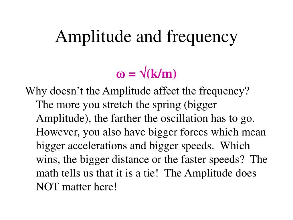 Amplitude and frequency