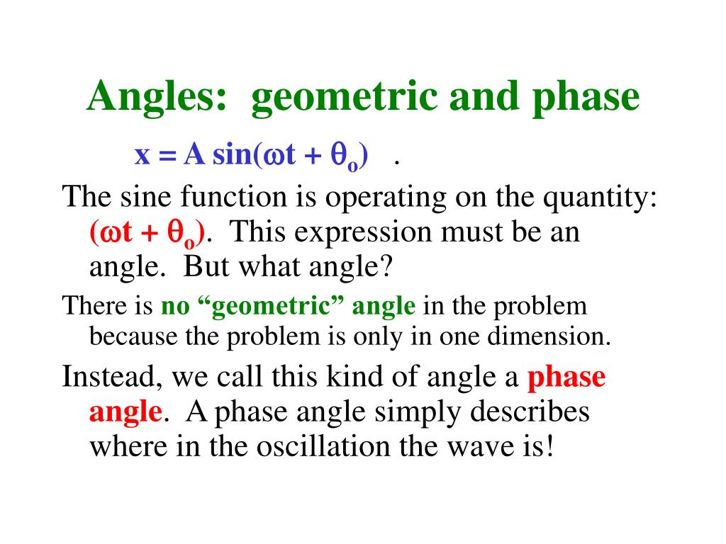 Angles:  geometric and phase