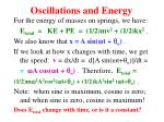oscillations and energy