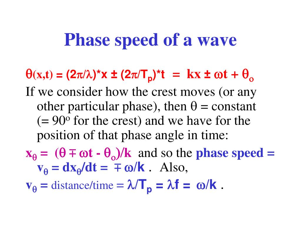 Phase speed of a wave