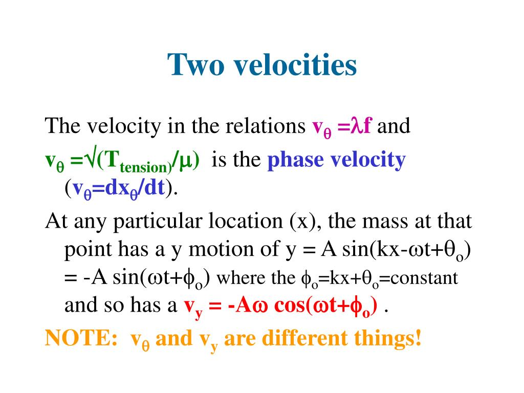 Two velocities