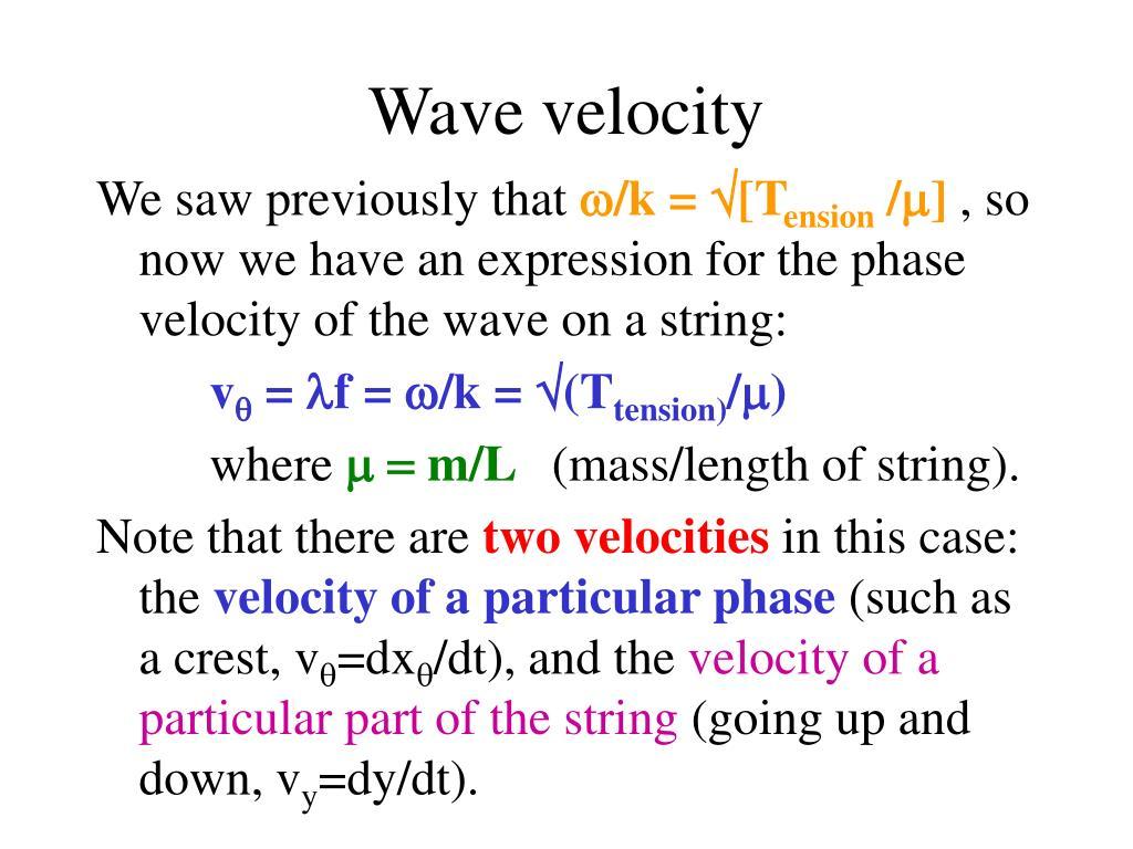 Wave velocity