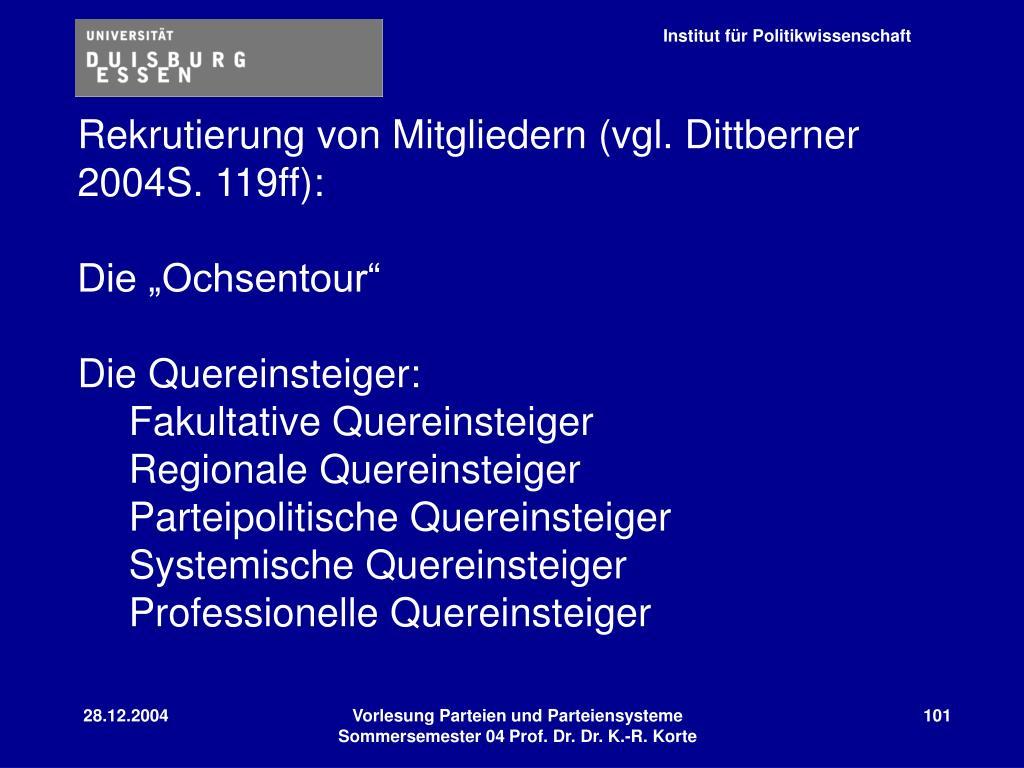 Rekrutierung von Mitgliedern (vgl. Dittberner 2004S. 119ff):