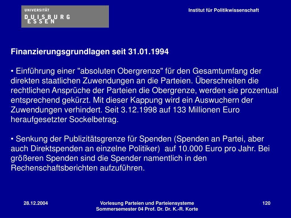 Finanzierungsgrundlagen seit 31.01.1994