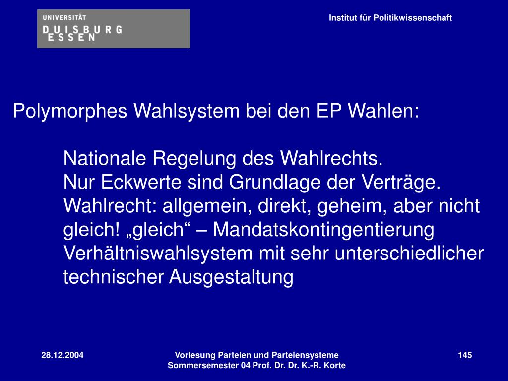 Polymorphes Wahlsystem bei den EP Wahlen:
