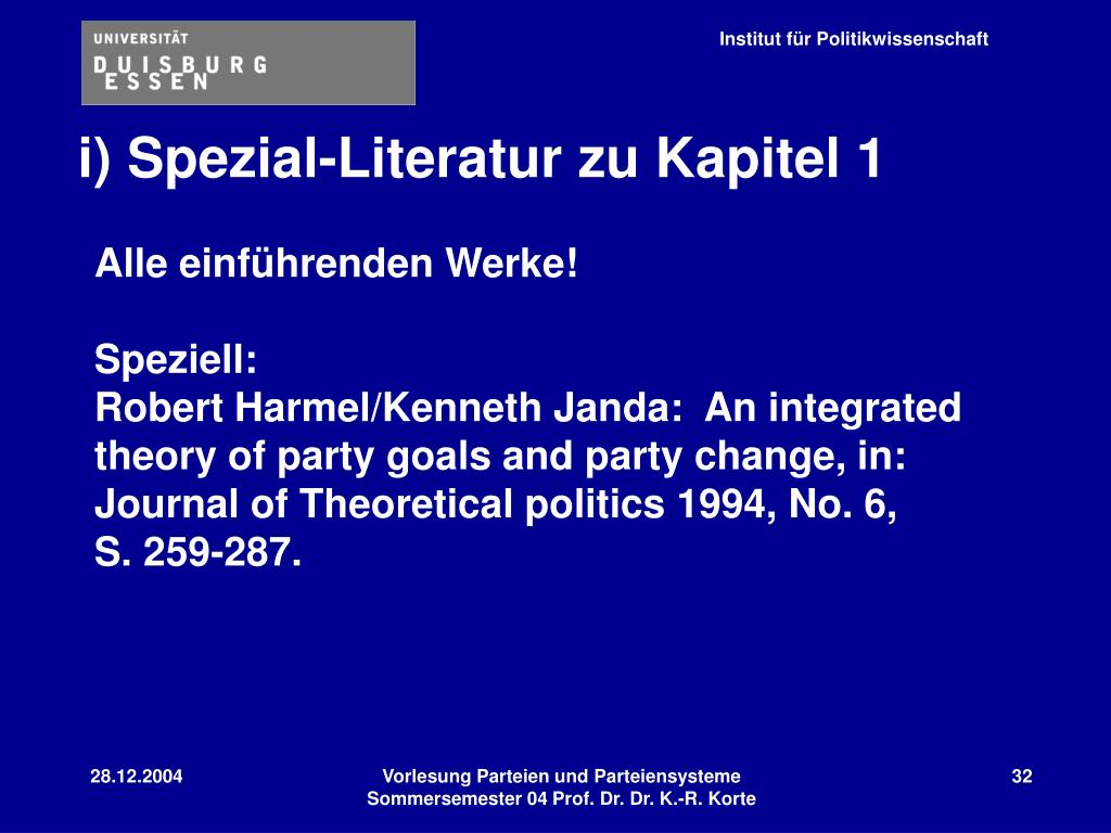 i) Spezial-Literatur zu Kapitel 1