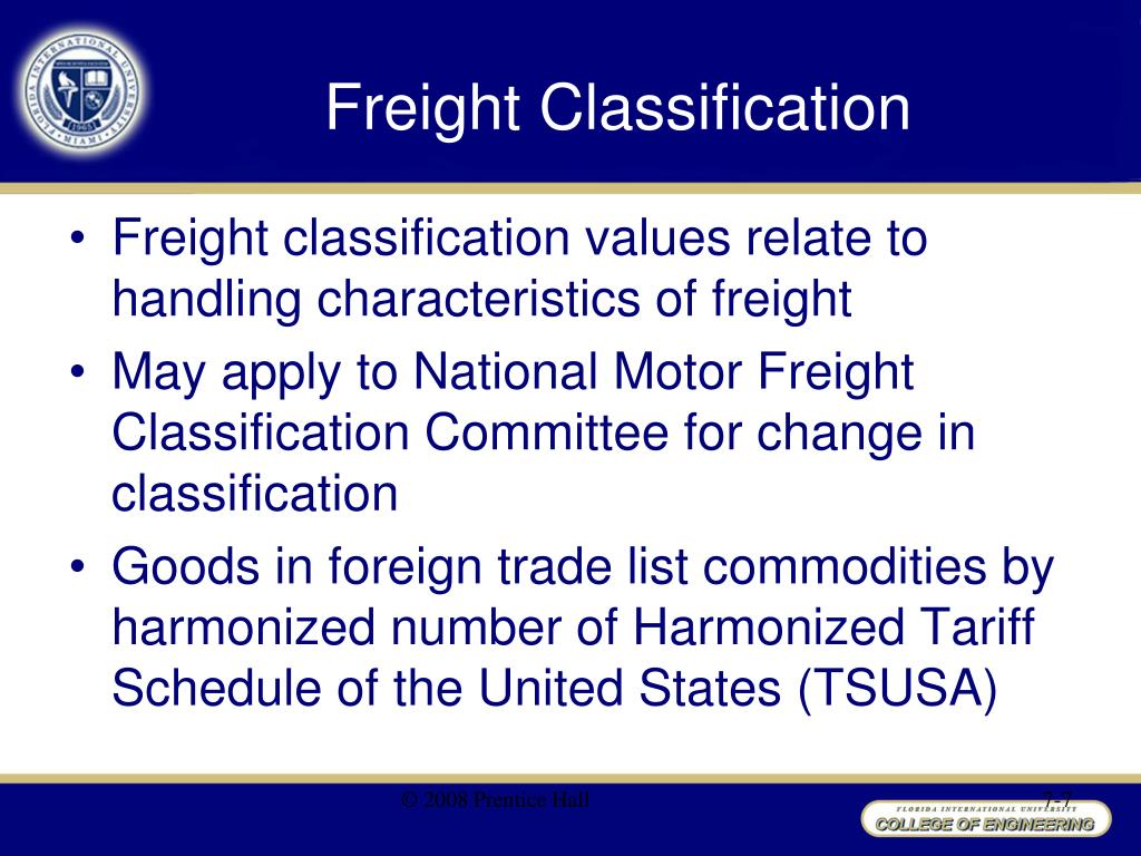 Ppt chapter 7 transportation management powerpoint National motor freight classification nmfc