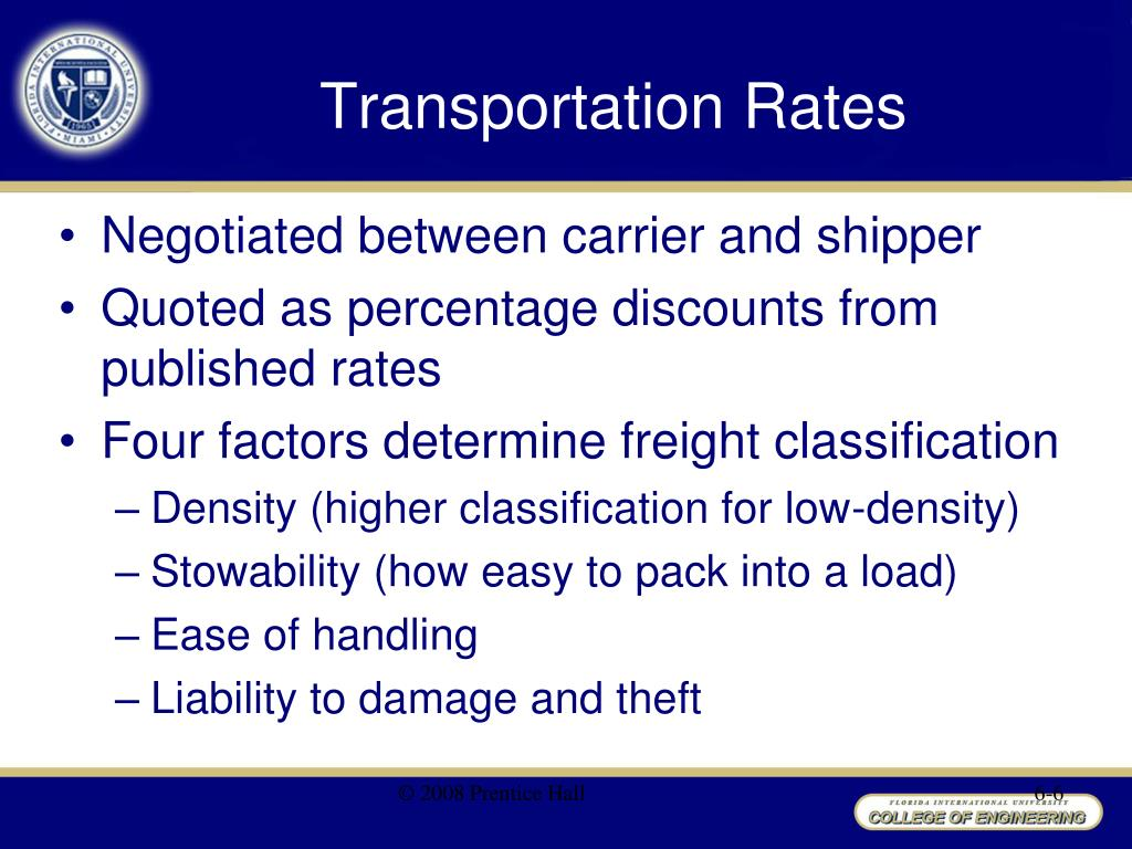 Ppt chapter 7 transportation management powerpoint for National motor freight code