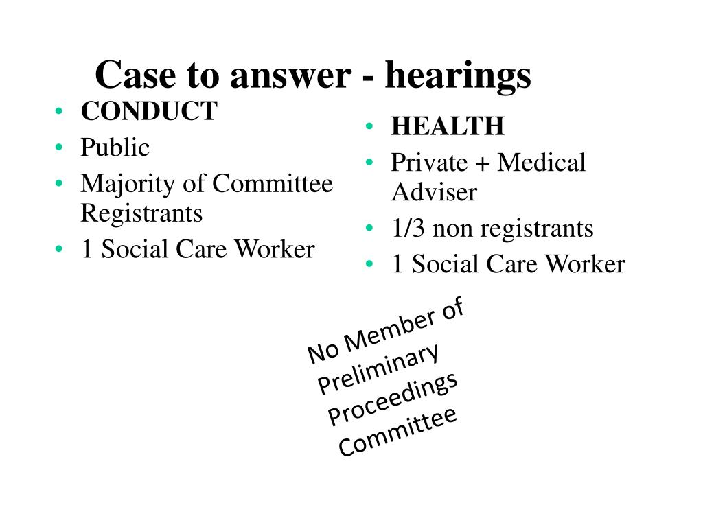 Case to answer - hearings