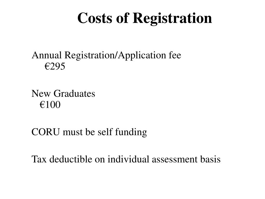 Costs of Registration