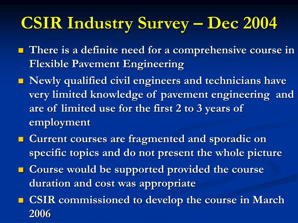 CSIR Industry Survey – Dec 2004