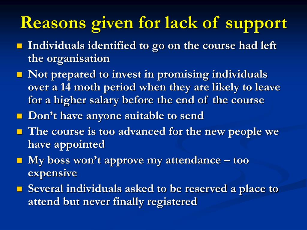 Reasons given for lack of support