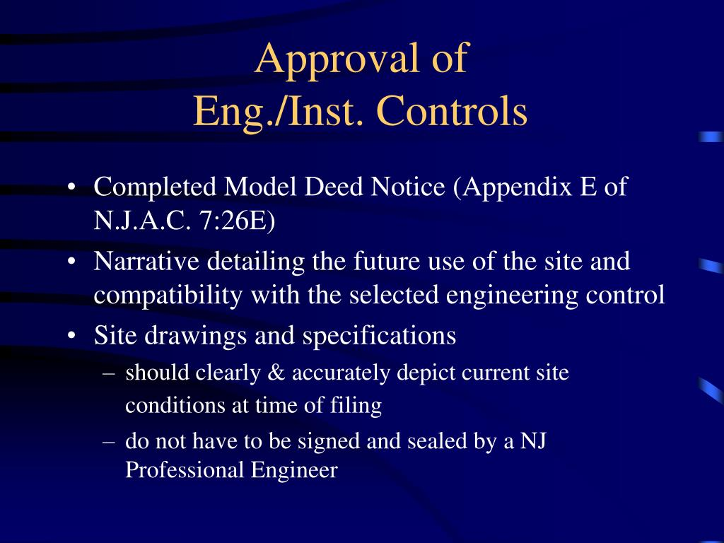Approval of               Eng./Inst. Controls