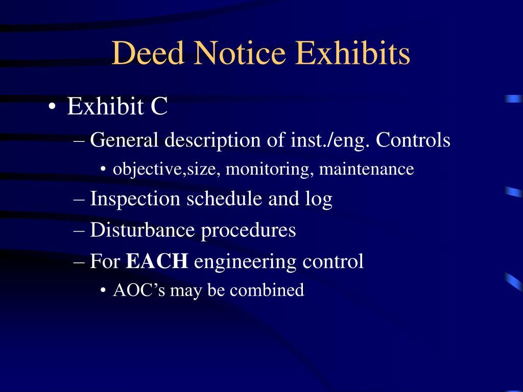 Deed Notice Exhibits