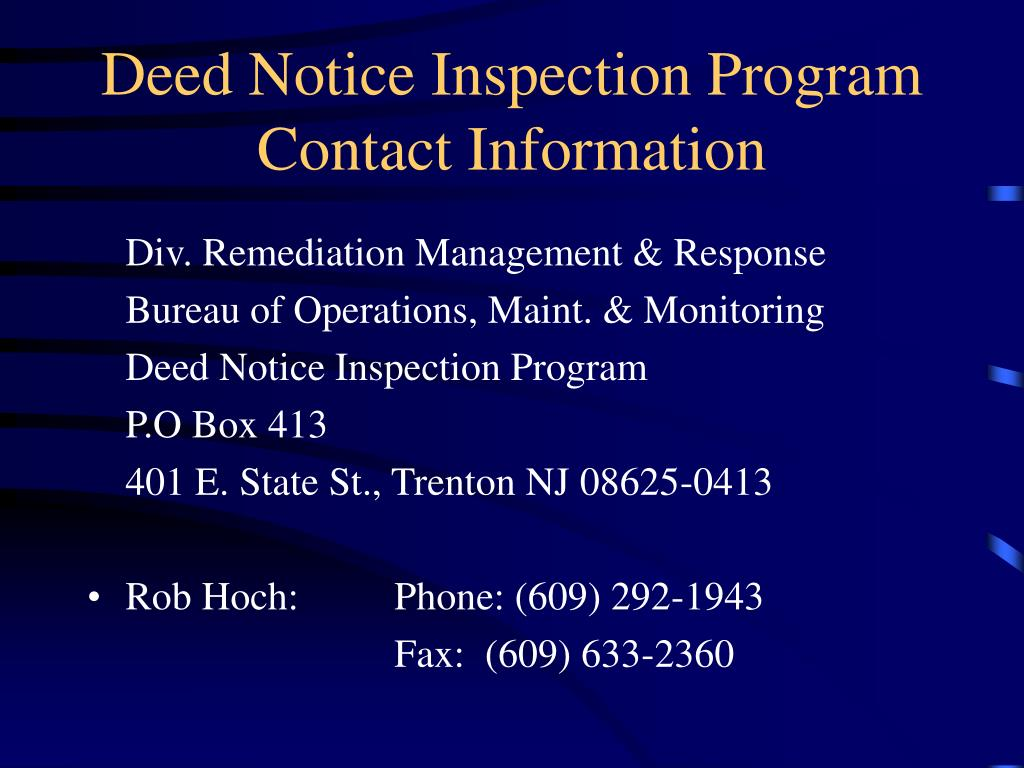 Deed Notice Inspection Program Contact Information