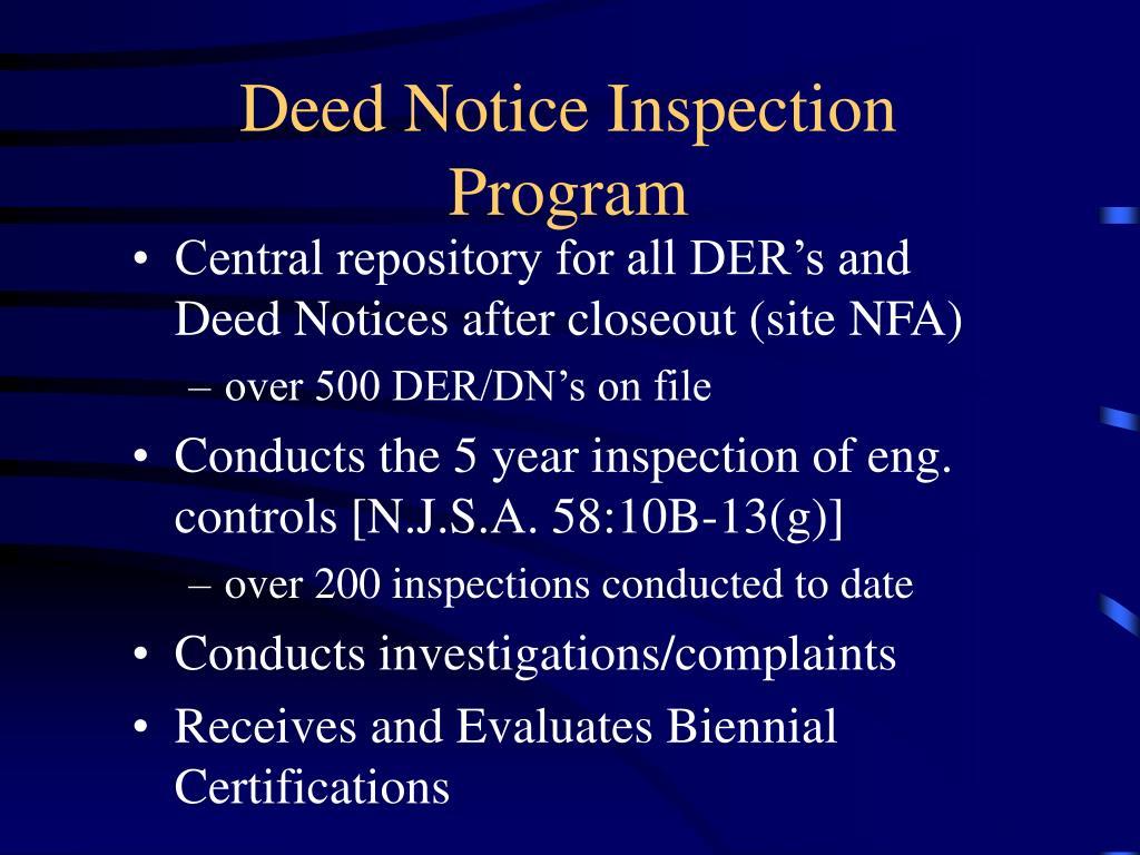 Deed Notice Inspection Program