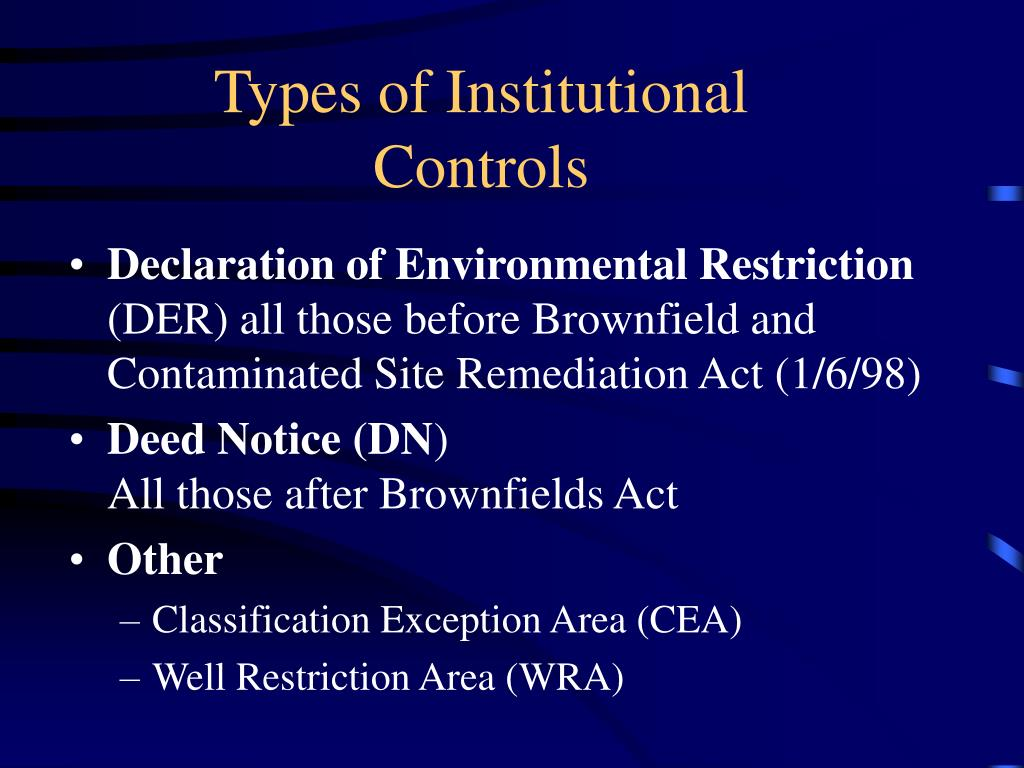 Types of Institutional Controls