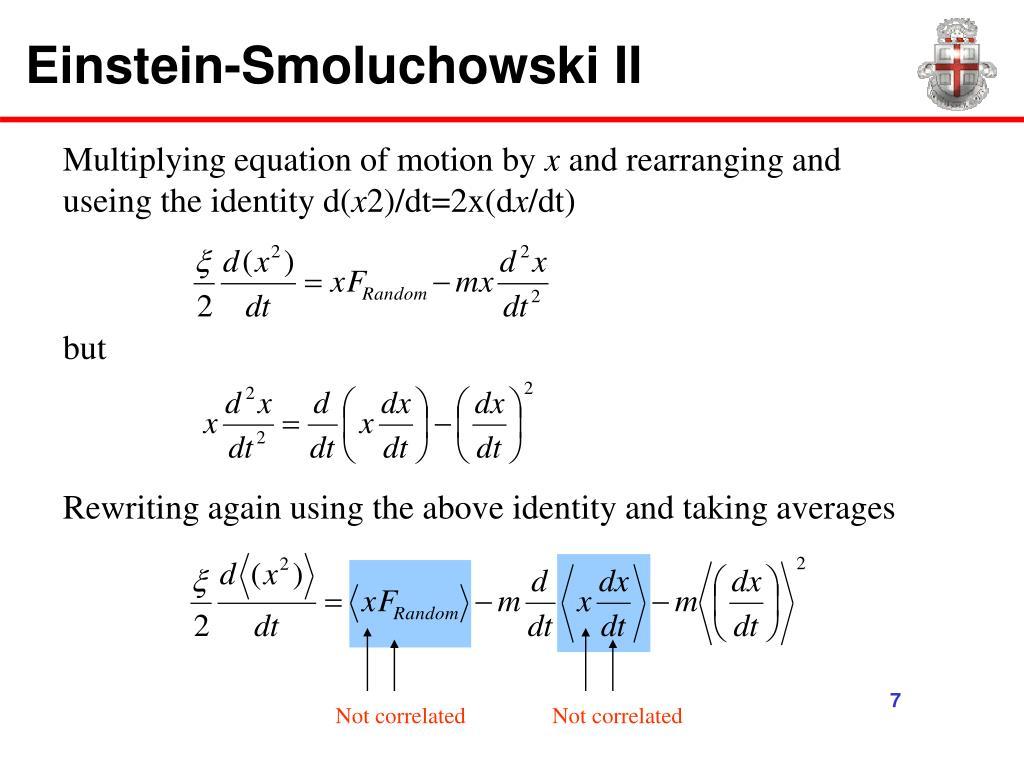 Einstein-Smoluchowski II