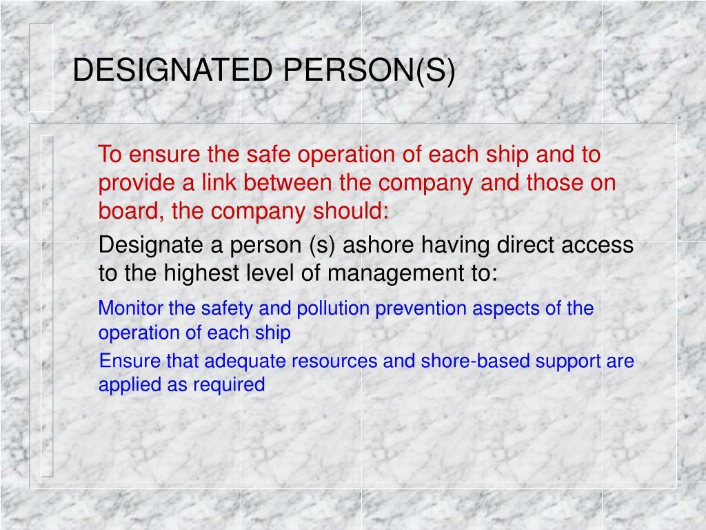 DESIGNATED PERSON(S)