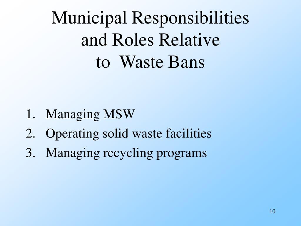 Municipal Responsibilities