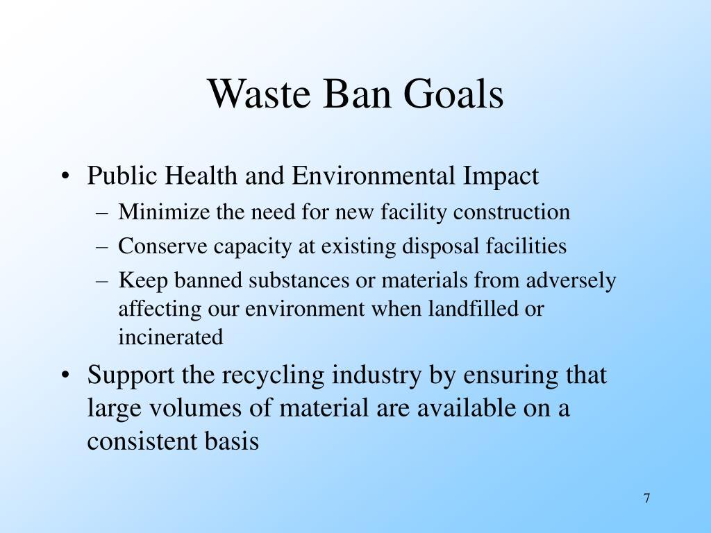 Waste Ban Goals