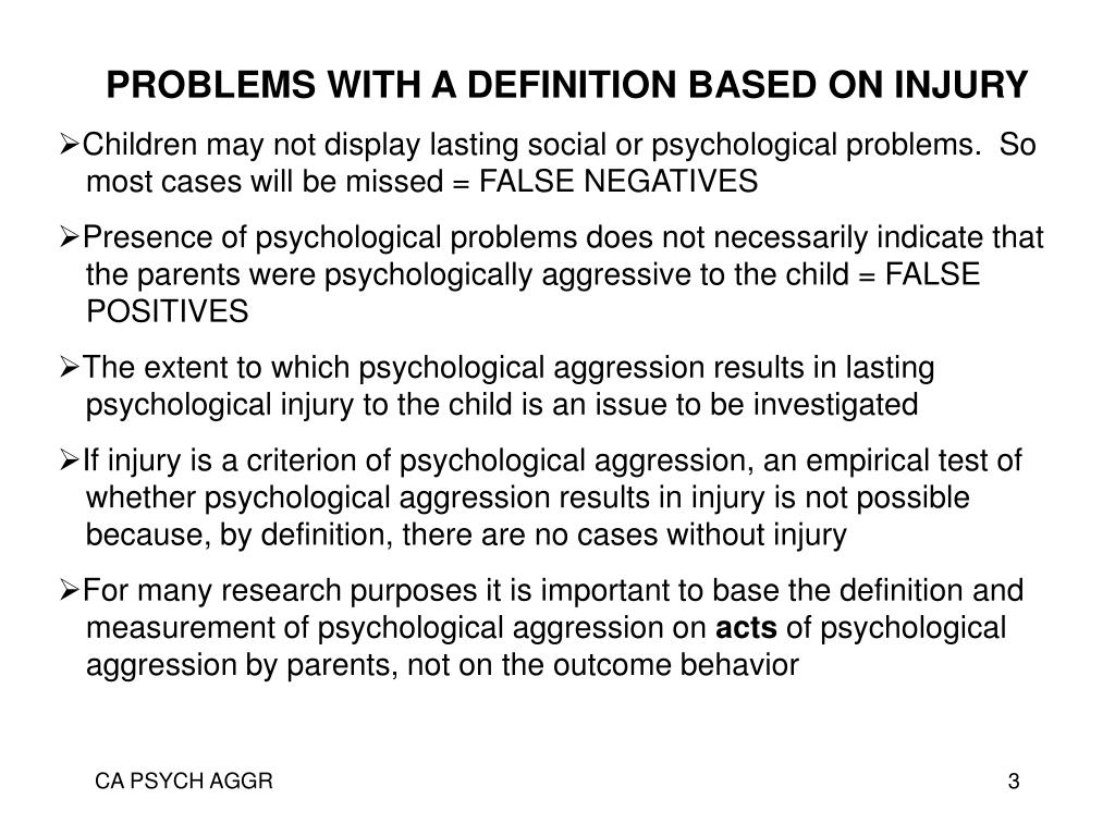 PROBLEMS WITH A DEFINITION BASED ON INJURY