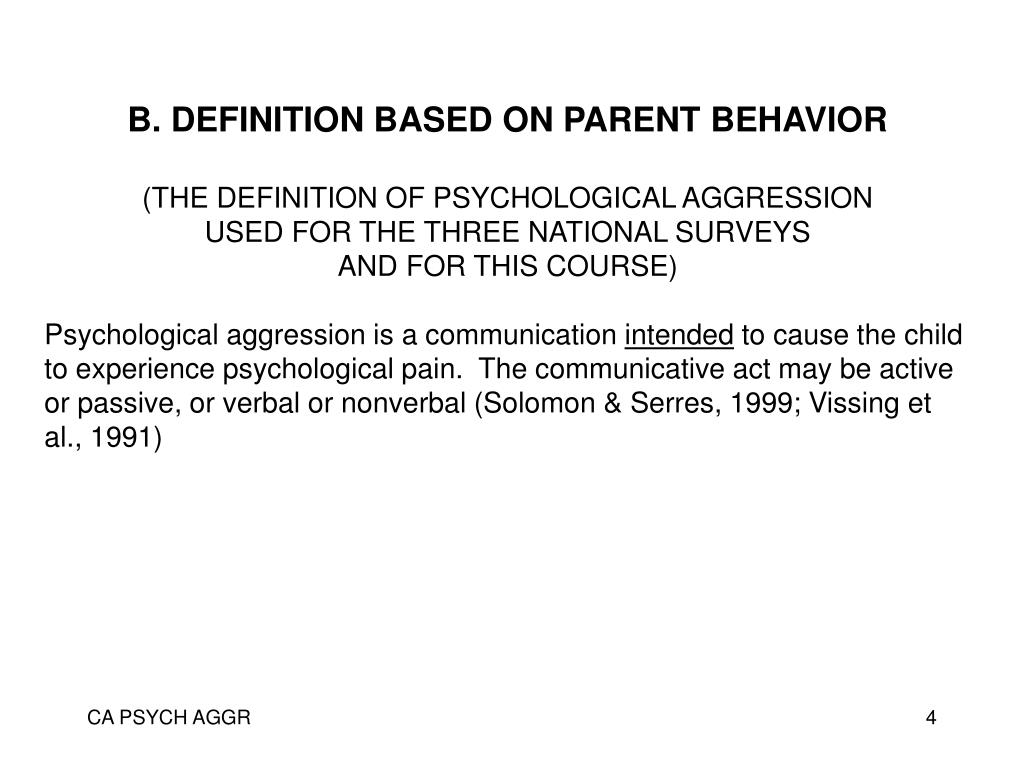 B. DEFINITION BASED ON PARENT BEHAVIOR
