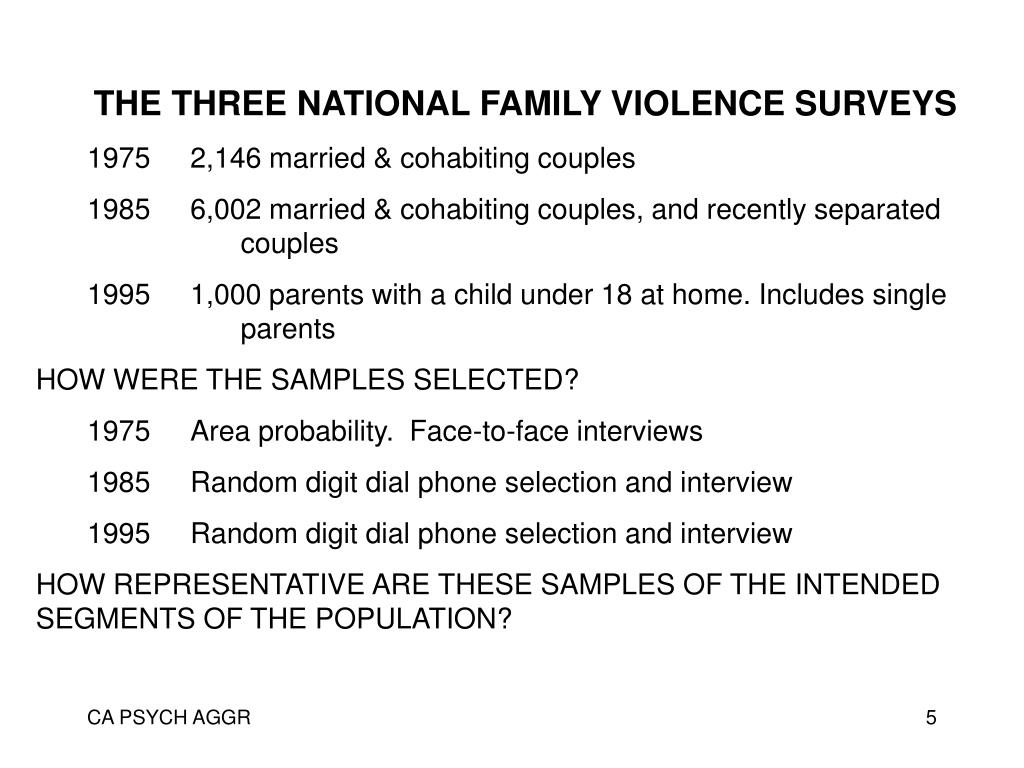 THE THREE NATIONAL FAMILY VIOLENCE SURVEYS