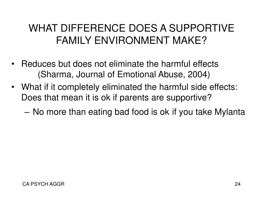 WHAT DIFFERENCE DOES A SUPPORTIVE FAMILY ENVIRONMENT MAKE?
