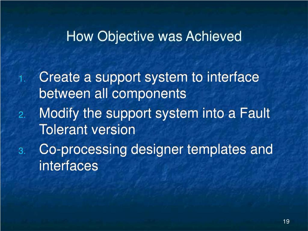 How Objective was Achieved