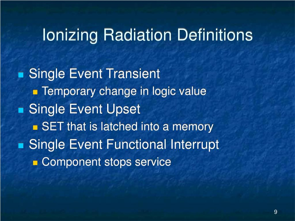 Ionizing Radiation Definitions
