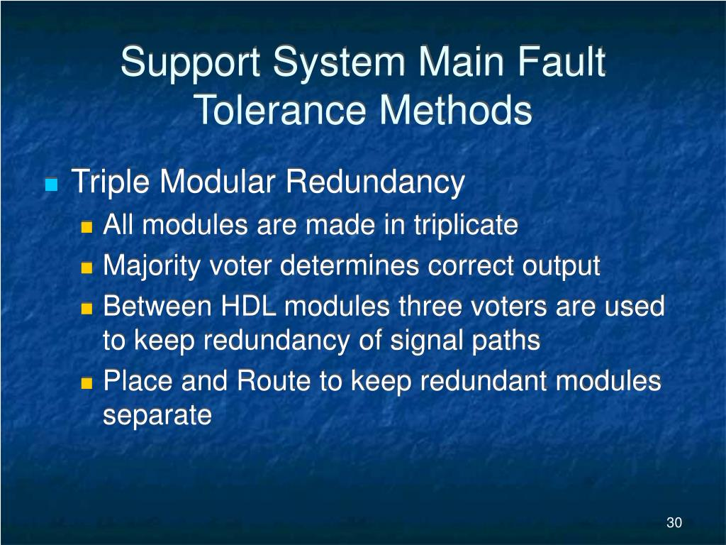 Support System Main Fault Tolerance Methods