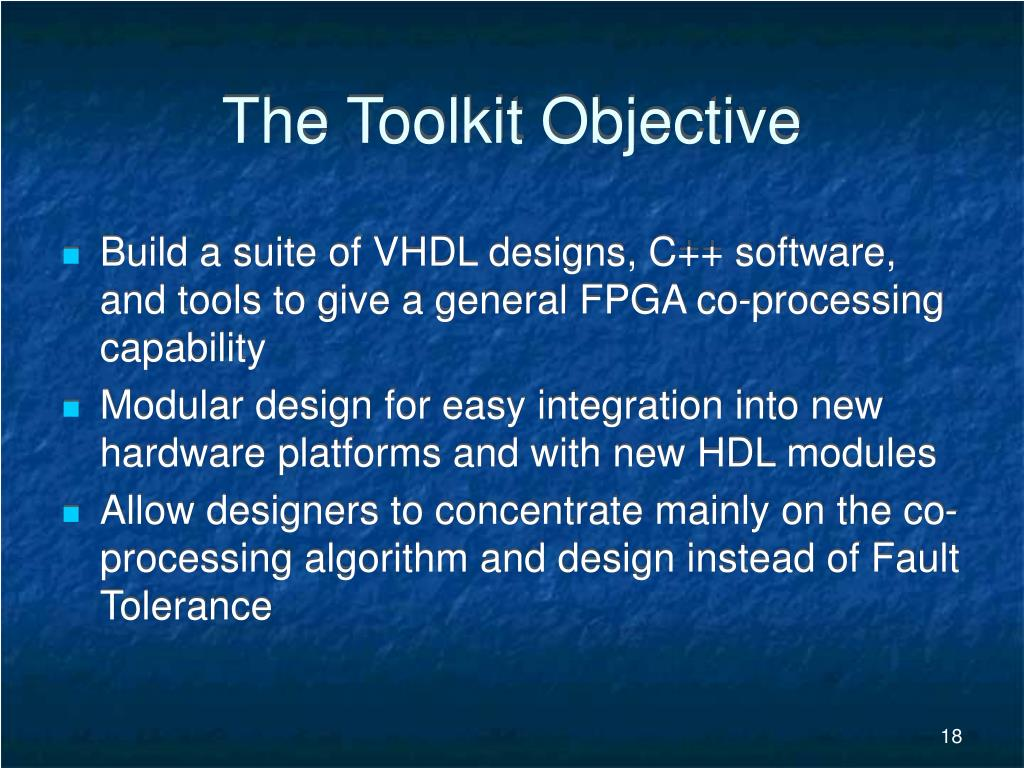The Toolkit Objective