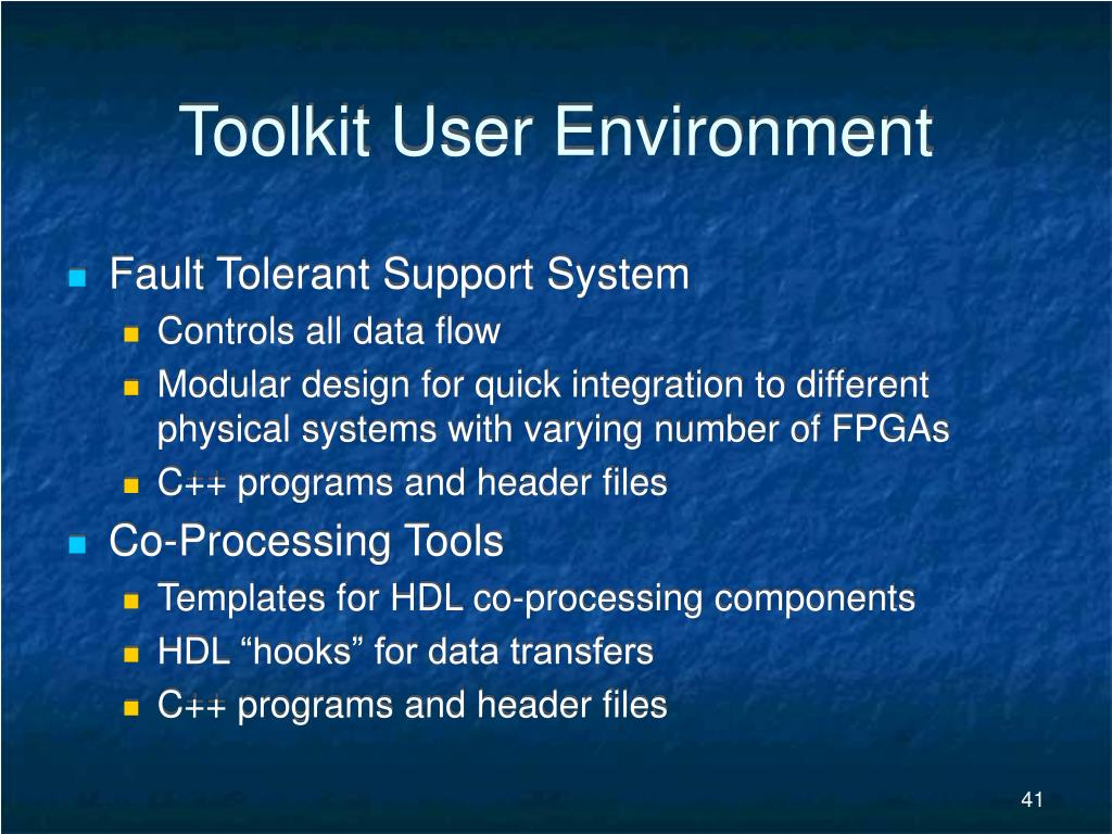 Toolkit User Environment