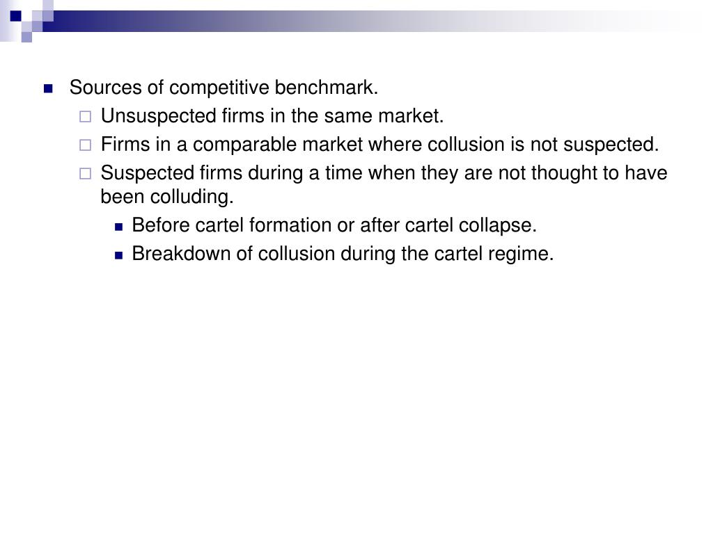 Sources of competitive benchmark.