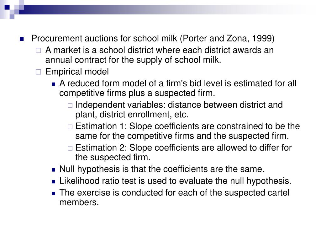 Procurement auctions for school milk (Porter and Zona, 1999)
