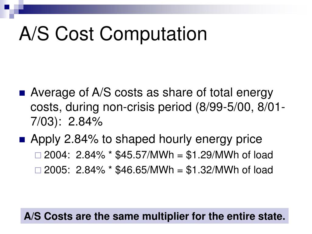 A/S Cost Computation