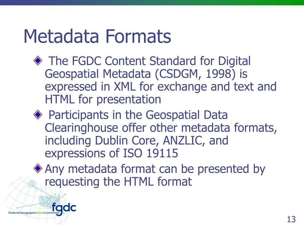 Metadata Formats