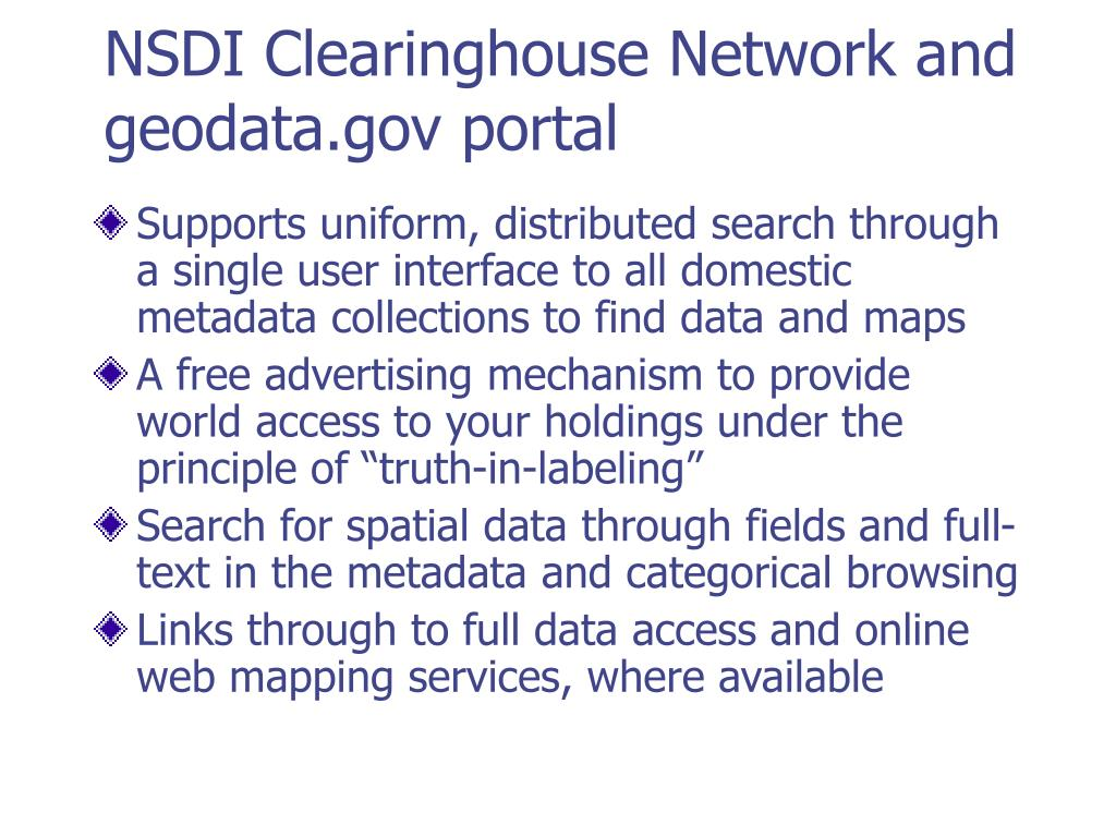 NSDI Clearinghouse Network and geodata.gov portal