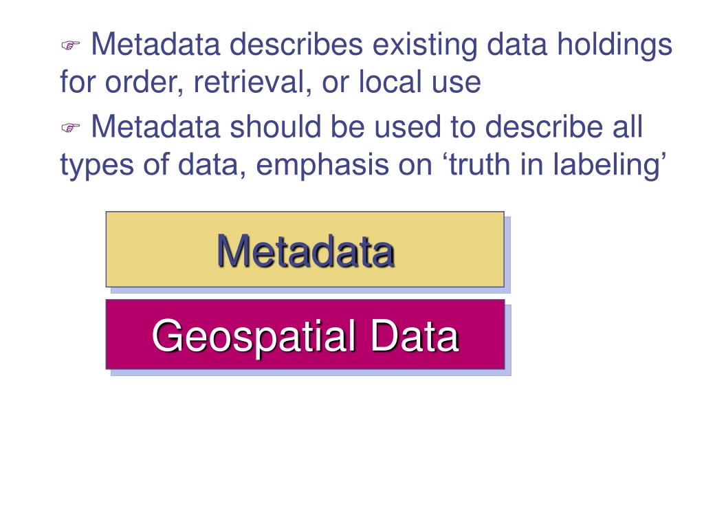 Metadata describes existing data holdings for order, retrieval, or local use
