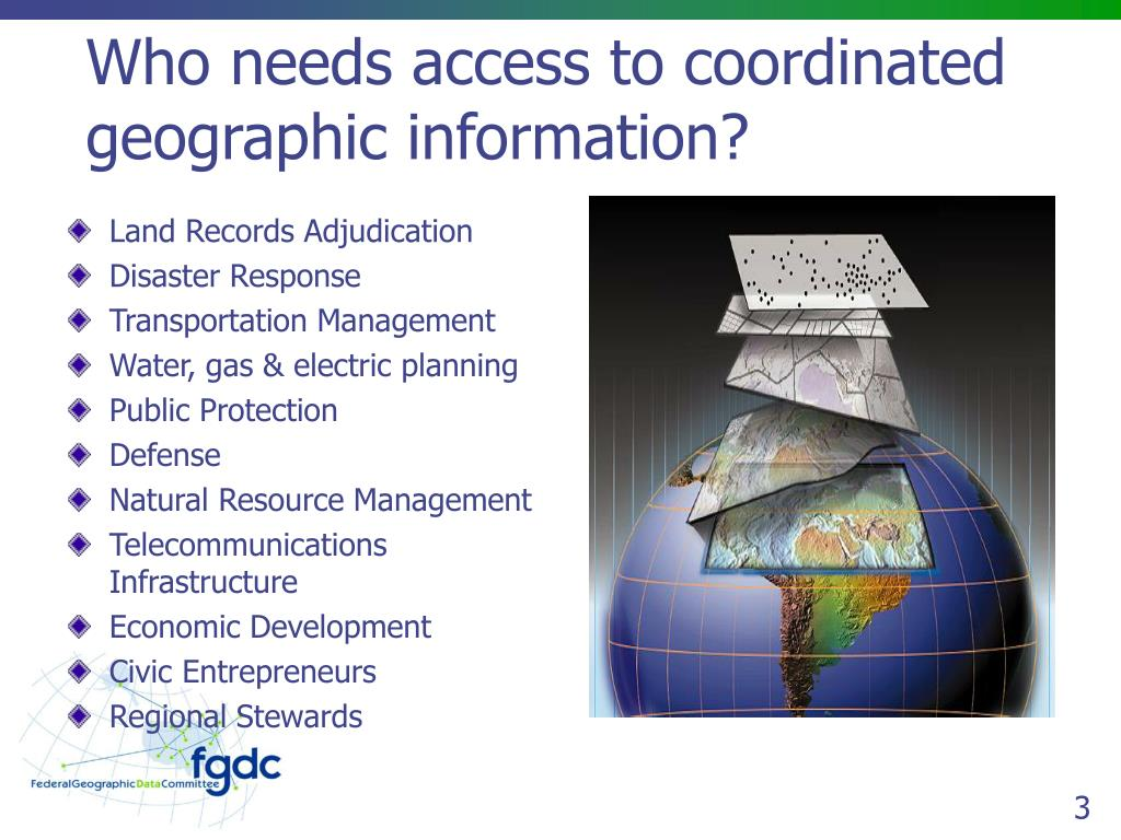 Who needs access to coordinated  geographic information?