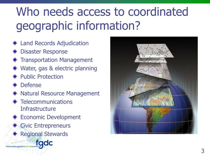 Who needs access to coordinated geographic information