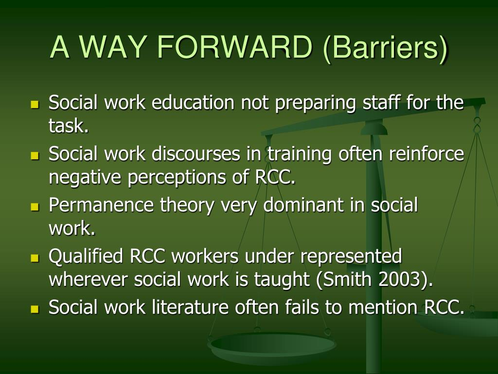 A WAY FORWARD (Barriers)