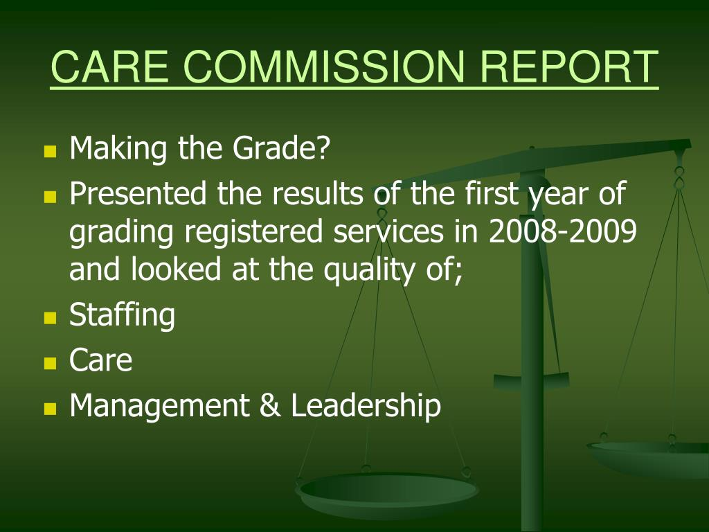 CARE COMMISSION REPORT