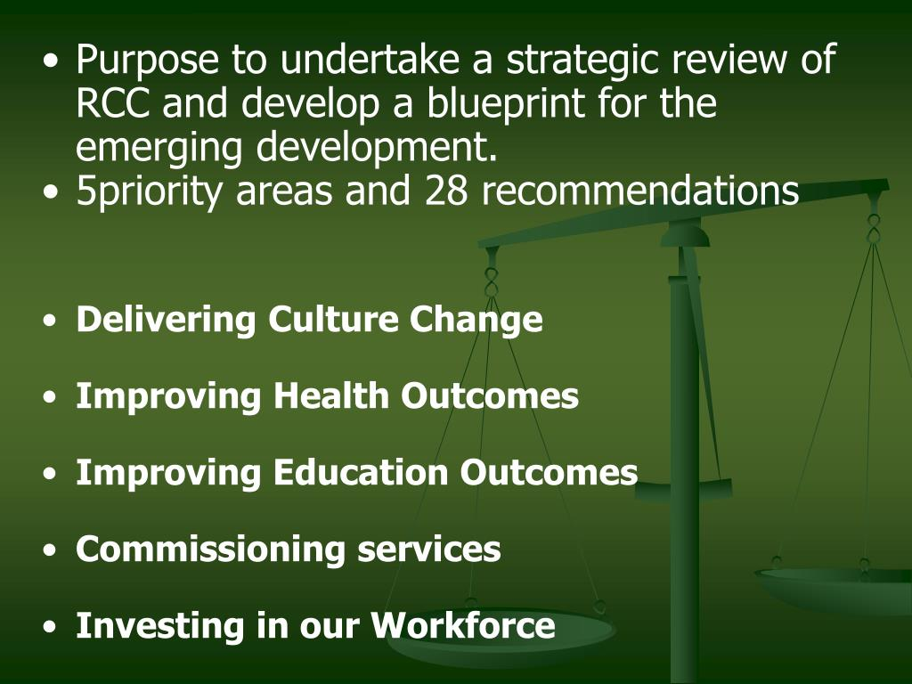 Purpose to undertake a strategic review of RCC and develop a blueprint for the emerging development.