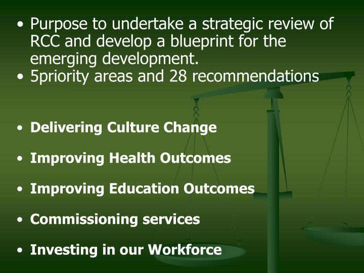 Purpose to undertake a strategic review of RCC and develop a blueprint for the emerging development....